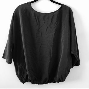 JOIE 100% Silk Black V-Back Blouse Top